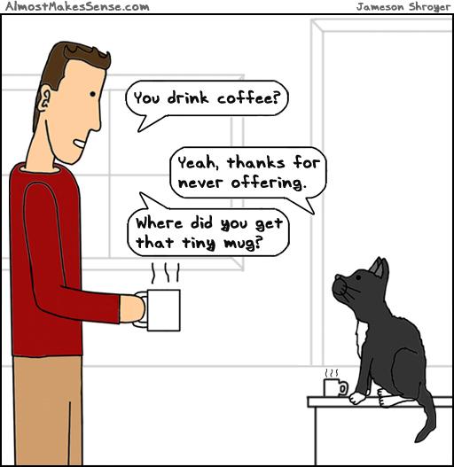 Cat Drinks Coffee