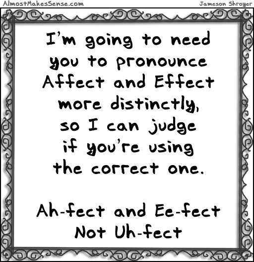 Affect Effect Pronounce